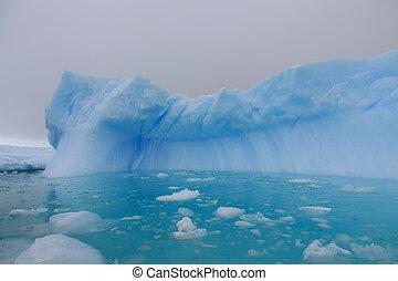 水, 空色, 南極大陸, 氷山