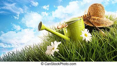 水, 罐頭, 以及, 草帽, 放置, 在, 草