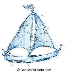 水, 船, 作られた, はねる, から