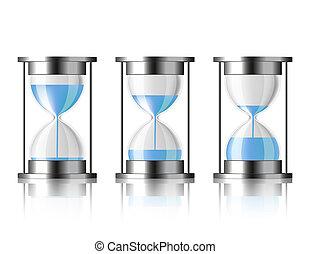 水, 落ちる, hourglass.
