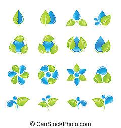 水, 葉, セット, アイコン