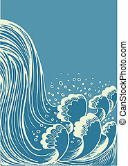 水, 蓝色, waterfall., 背景, 波浪, 矢量