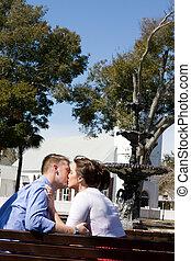 水, 親吻, 夫婦, 泉水
