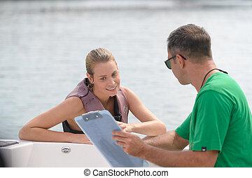 水, 話し, 女, クリップボード, 人