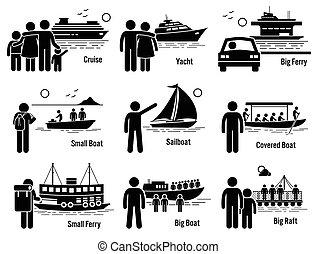 水, 車, 交通機関, 海