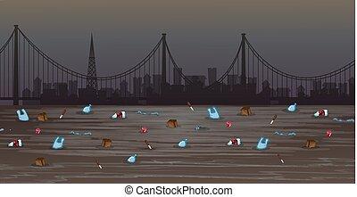 水, 都市, 汚染, 大きい