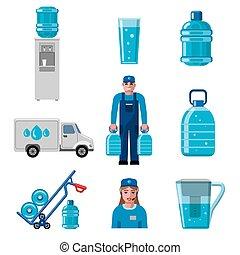 水, 配達サービス, アイコン