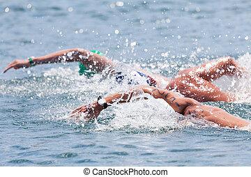 水, 開いた, 水泳