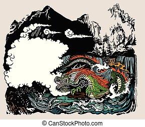 水, 風景, ドラゴン