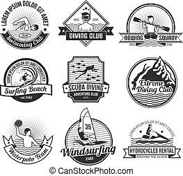 水, 黒, セット, スポーツ, ラベル