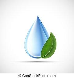 水, concept., eco, 緑, 低下, leaf.