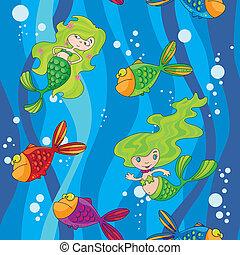 水, mermaids, fish, seamless, 波