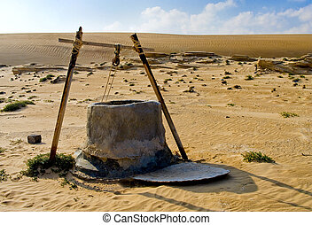 水, oman, 井戸, 砂漠