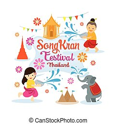 水, songkran, 子供, 祝祭, 遊び