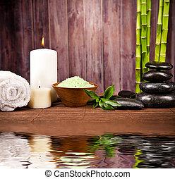水, spa, 生活, 仍然, 反映