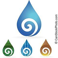 水, swirly, 低下, セット, ロゴ
