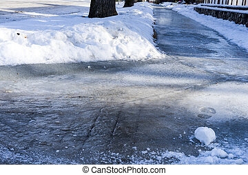 氷った, 歩道