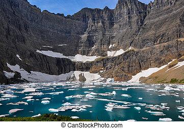 氷山, アメリカ, 道, 氷河 国立公園, montana