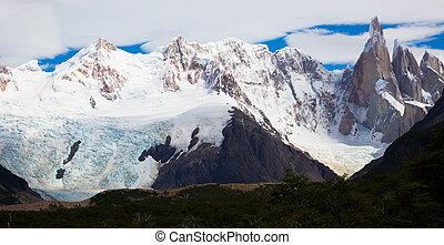 氷河, 山, roy, fitz, torre, cerro