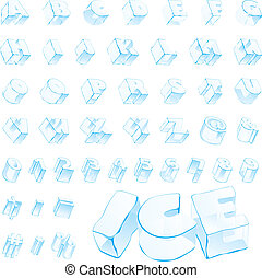 氷, アルファベット, 3d