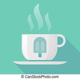 氷, カップ, クリーム, 長い間, コーヒー, 影