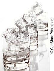 氷, ガラス, 立方体, 満たされた