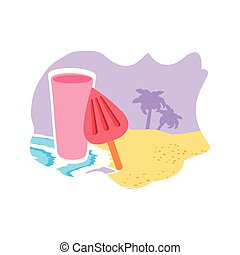 氷, ジュース, フルーツ, 新たに, 浜, クリーム