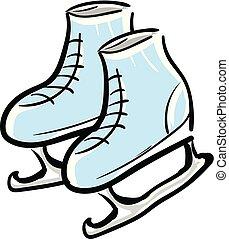 氷, ベクトル, イラスト, 背景, スケート, 白