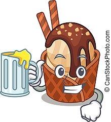 氷, 朗らかである, ガラス, マスコット, コーヒー, クリーム, デザイン, ビール