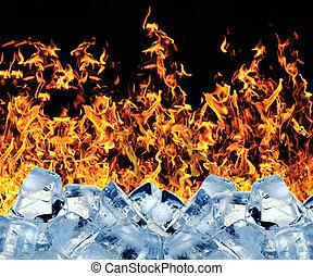 氷, 燃焼, 立方体