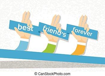 永久に, グループ, 友情, 友人, 手, 旗, 日, 最も良く