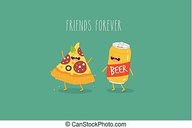 永久に, 友人, ビール, ピザ