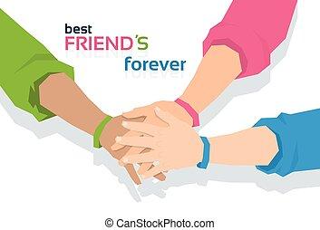 永久に, 友情, 友人, 一緒に, 手の 保有物, 旗, 日, 最も良く