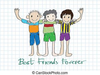 永久に, 友情, 考え, デザイン, 友人, 日, 最も良く, 幸せ