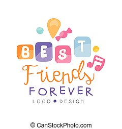 永久に, 旗, ポスター, カード, 友人, 挨拶, イラスト, ラベル, tシャツ, デザイン, ベクトル, ロゴ, 友情, 日, 最も良く, 幸せ
