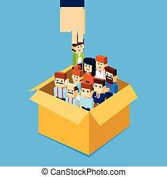 求人, 手, 盗品, ビジネス 人, 候補者, から, 箱, 人々, グループ, 人的資源, 群集