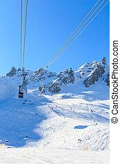 求助, 法国, saulire., wintertime., courchevel, 举起, 滑雪