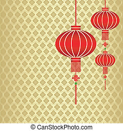 汉语, 背景, 年, 新, 红, 灯笼