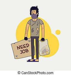 汚い, シャギー, 失業者, ホームレスである, 必要性, 人, work., 助け