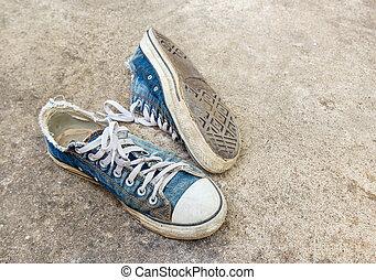 汚い, 古い, 靴, 床