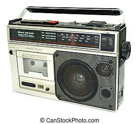 汚い, 古い, 1980年代のスタイル, カセットプレーヤー, ラジオ, に対して, a, 白い背景