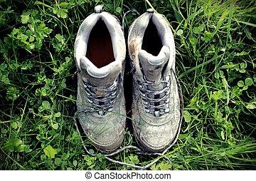 汚い, 歩くこと, レトロ, 薄れていった, ブーツ