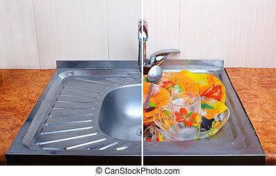 汚い, dishware, フルである, 1(人・つ), 流し, きれいにしなさい, 比較