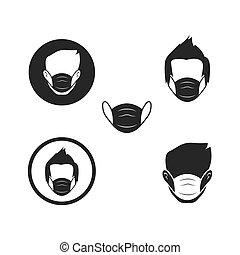 汚染の マスク, 顔, ベクトル, 使うこと, 人