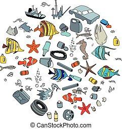 汚染, ごみ, waste., ocean., 水