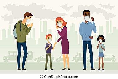 汚染, -, ベクトル, 人々, 空気, 漫画, イラスト, 特徴