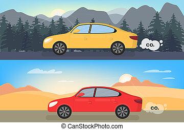 汚染, 自動車, dioxide., 空気, 炭素, emits, co2