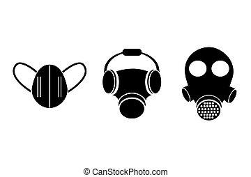 汚染, 3, マスク, シルエット, モデル