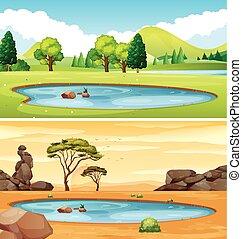 池塘, 二, 場景