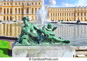 池塘, 在之前, the, 皇家的住处, 在, 凡尔赛, 近, 巴黎, 在中, 法国